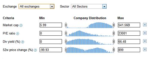 Google Finance Stock Screener