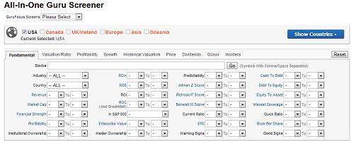 Gurufocus Stock Screener