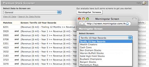 Morningstar Premium Stock Screener